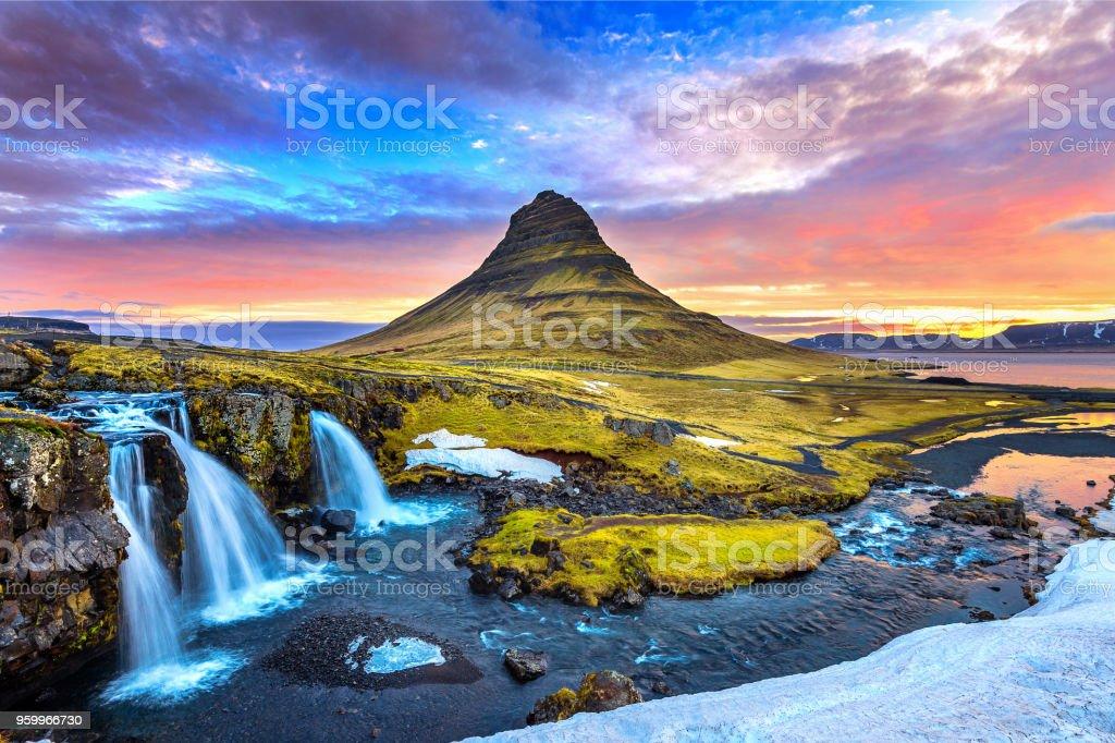 Kirkjufell at sunrise in Iceland. Beautiful landscape. stock photo