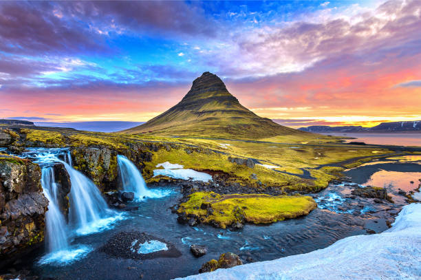 Kirkjufell at sunrise in Iceland. Beautiful landscape. stock photo