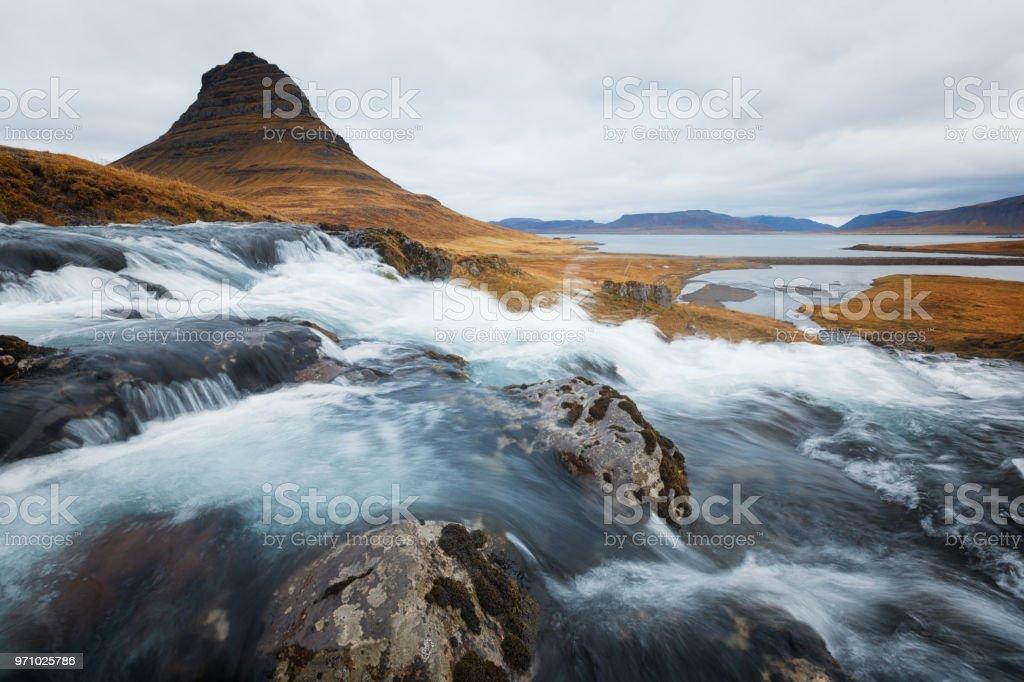 Kirkjufell in Iceland during Autumn stock photo