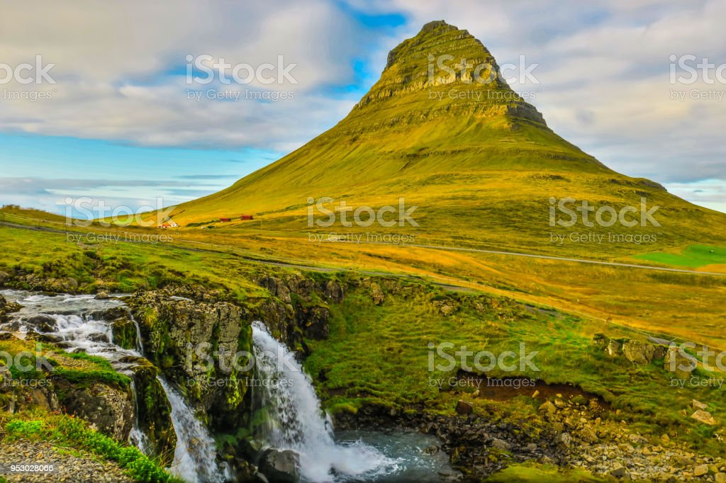 Kirkjufell Mountain in Grundarfjörður Iceland stock photo