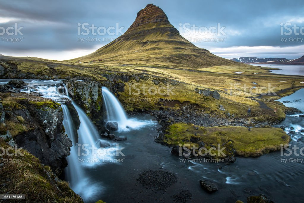 Kirkjufell mountain the iconic tourist attraction in west region of Iceland. royalty-free stock photo