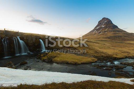 istock Kirkjufell volcanic mountain and waterfalls 495577546