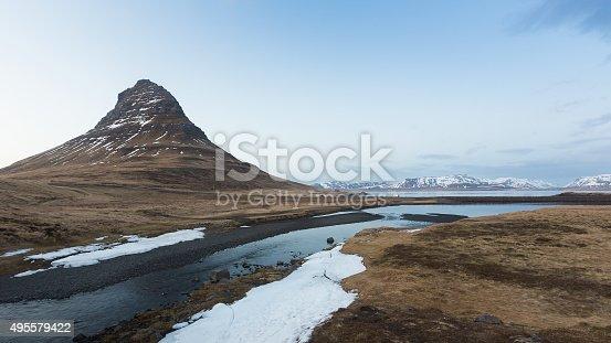 istock Kirkjufell volcanic mountain during late winter 495579422