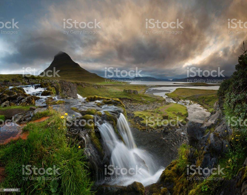 Kirkjufell volcano stock photo