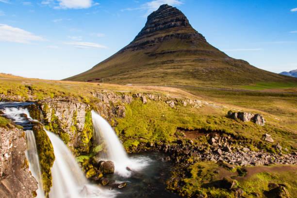 Kirkjufell waterfall and mountain, Iceland stock photo