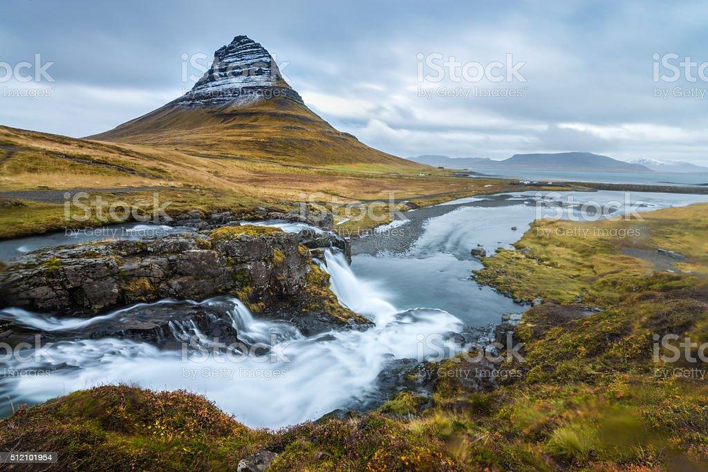 Kirkjufellsfoss autumn season Iceland stock photo