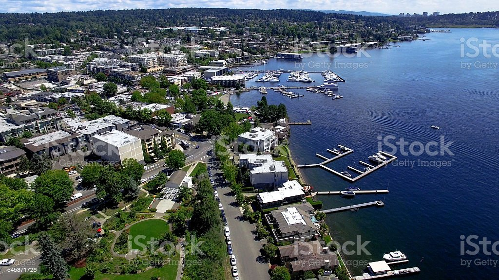 Kirkland, WA Waterfront Aerial Panoramic Lake Washington, Bellevue Skyline stock photo