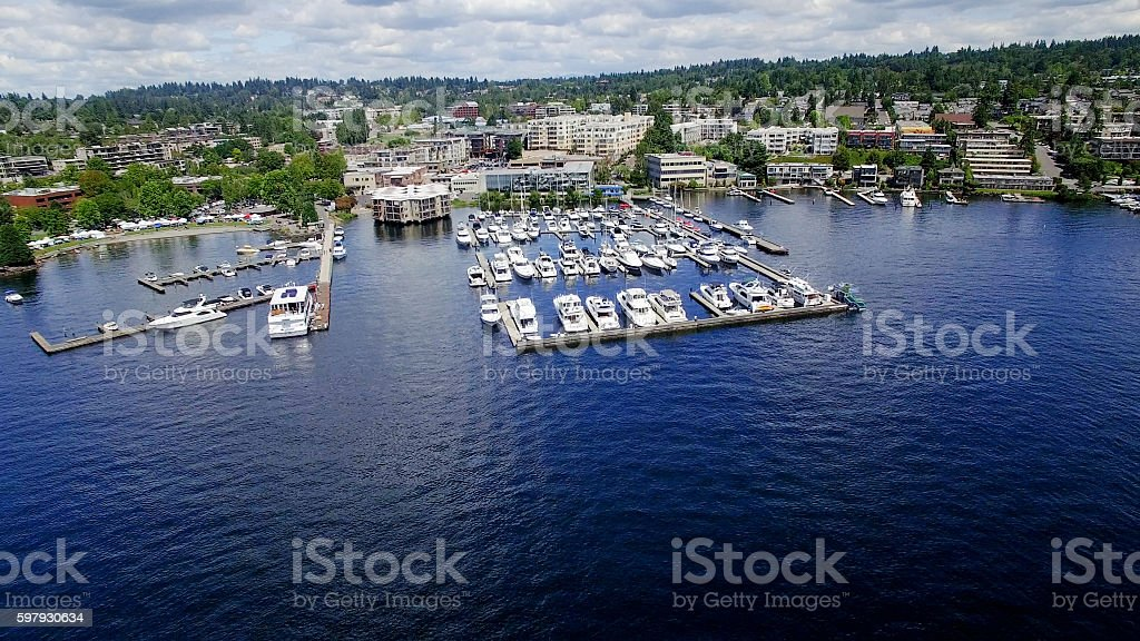 Kirkland, WA Waterfront Boats at the Marina on Lake Washington - foto de stock