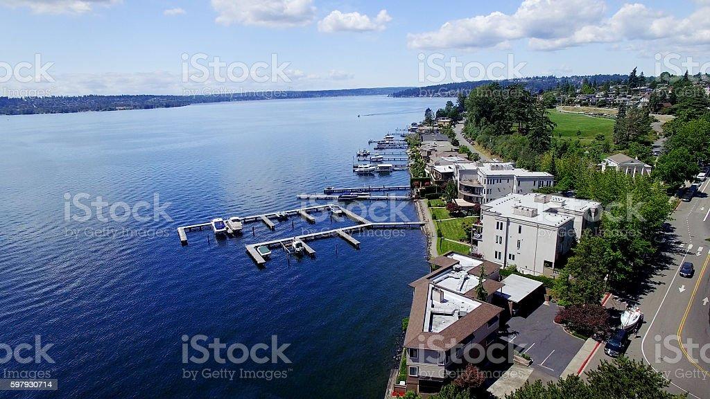 Kirkland, Washington Aerial View of Lake and City stock photo