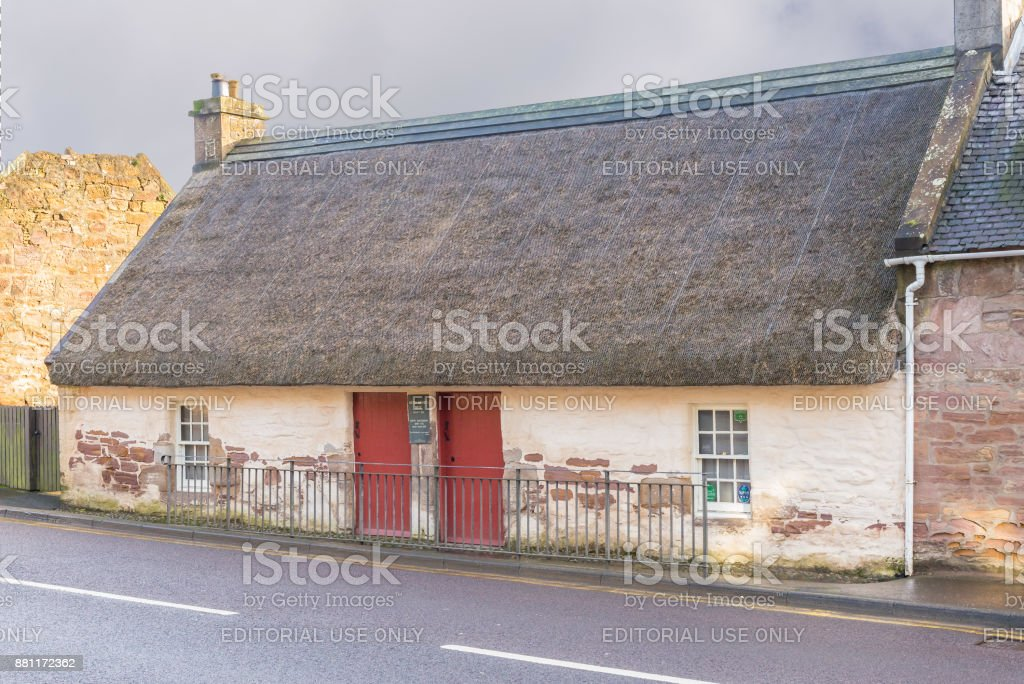 Kirkoswald Main Street & Souter Johnnie's Cottage stock photo
