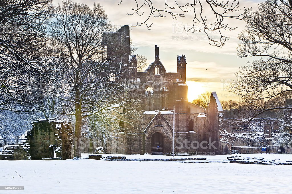 Kirkstall Abbey in snowy morning royalty-free stock photo