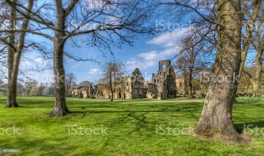 Kirkstall Abbey view from the south stock photo