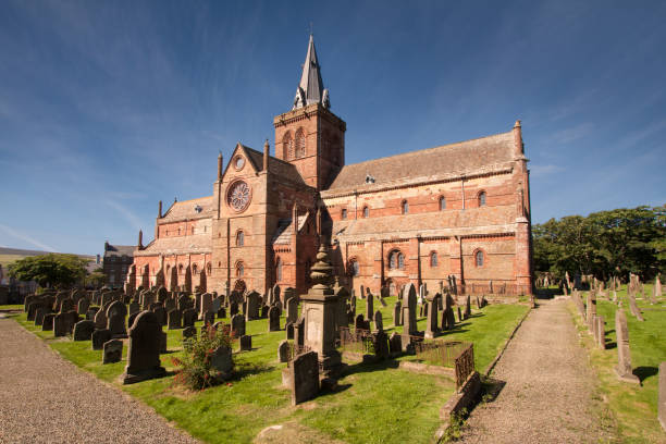 Kirkwall, Orkney, Scotland – August 5, 2014: St Magnus Cathedral stock photo