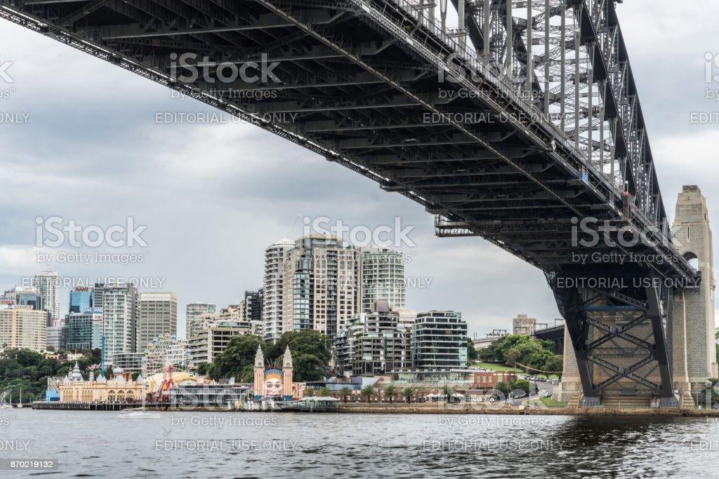 Kirribilli Luna park from under Harbour Bridge, Sydney Australia. stock photo
