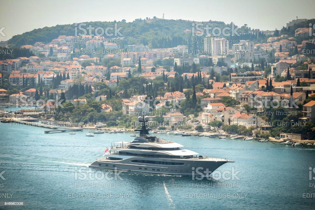 Kismet yacht in Dubrovnik stock photo