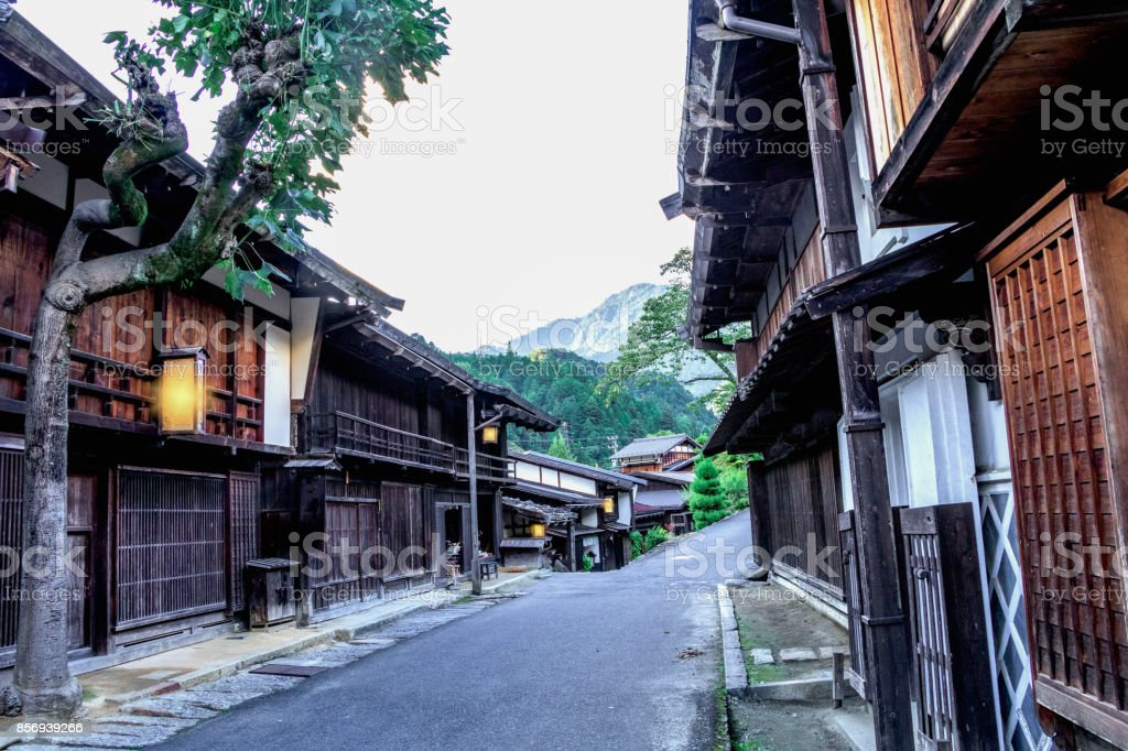 Kiso valley is the old  town or Japanese traditional wooden buildings for the travelers walking at historic old street  in Narai-juku , Nagano Prefecture, JAPAN. stock photo