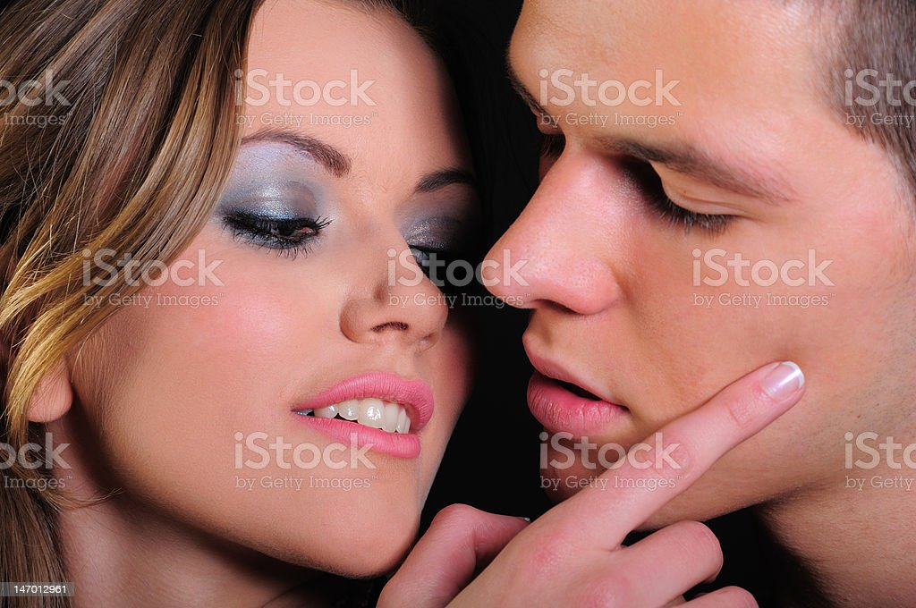 Kiss about to happen royalty-free stock photo