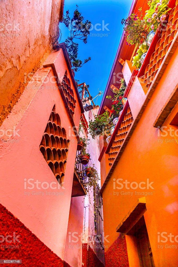 Kiss Alley Colored Houses Guanajuato Mexico stock photo