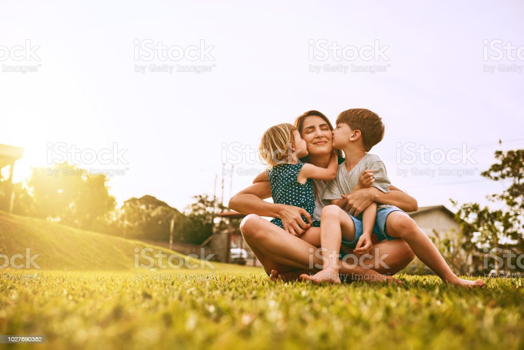 Kiss delivery for mom! stock photo