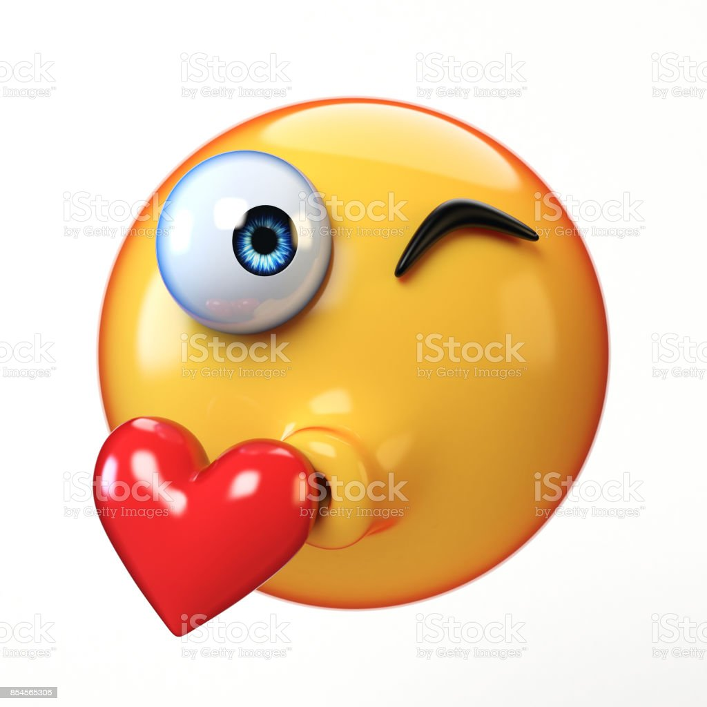 Kiss emoji isolated on white background, kissing face emoticon 3d rendering stock photo