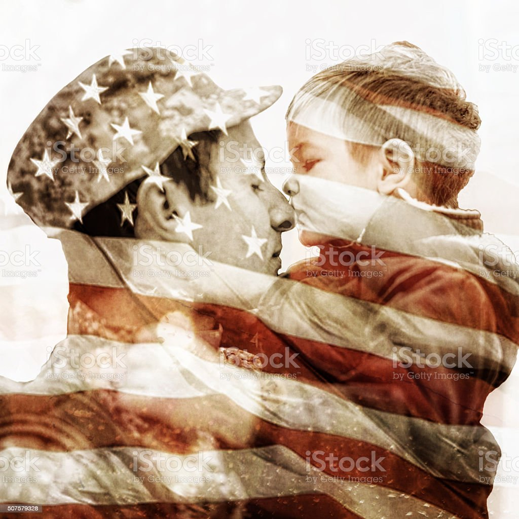 Kiss for a soldier stock photo