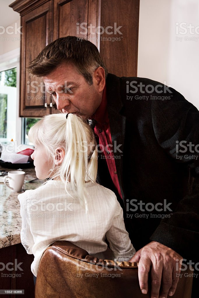 Kiss goodbye from Dad stock photo