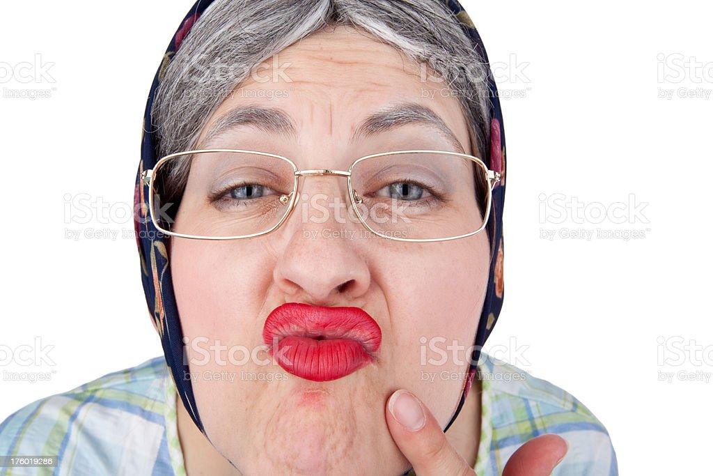 Mature lipstick kissing