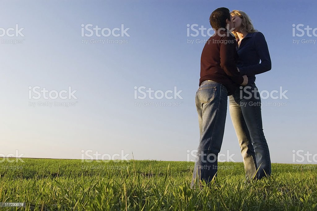 Kiss in the field royalty-free stock photo