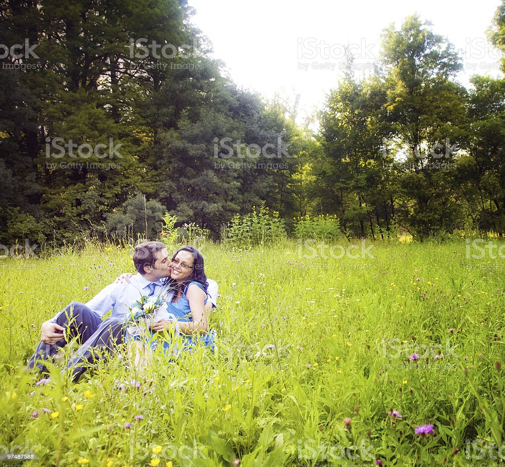 Kiss of romantic lovers in the green grass royalty-free stock photo