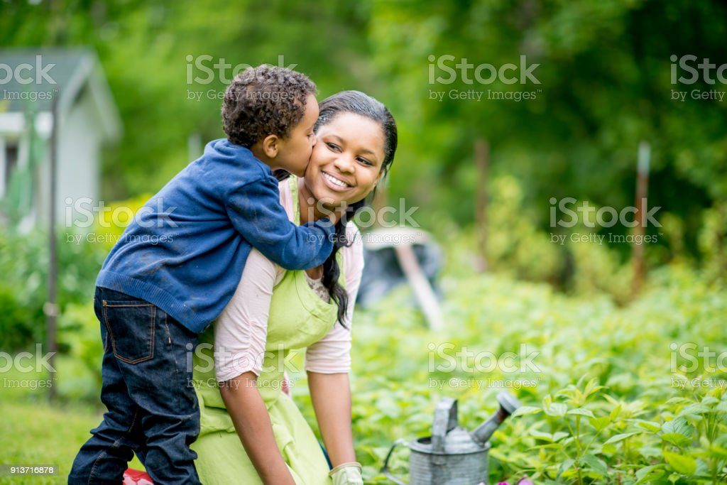 Kiss On The Cheek stock photo