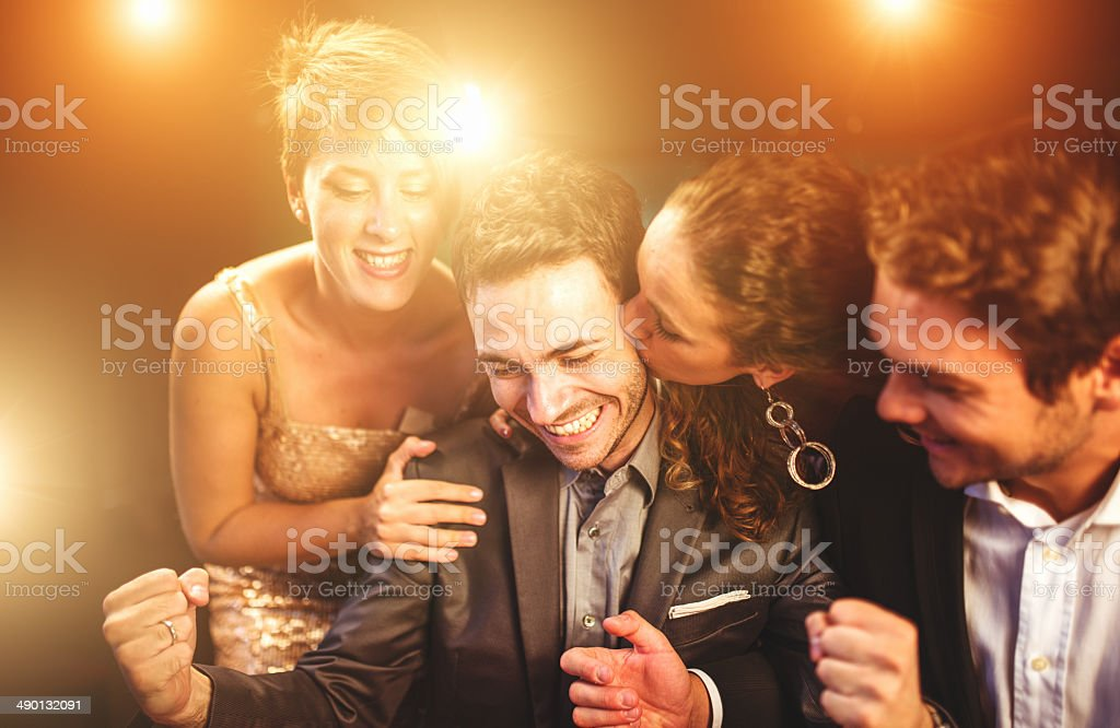 kisses by the luck at poker stock photo