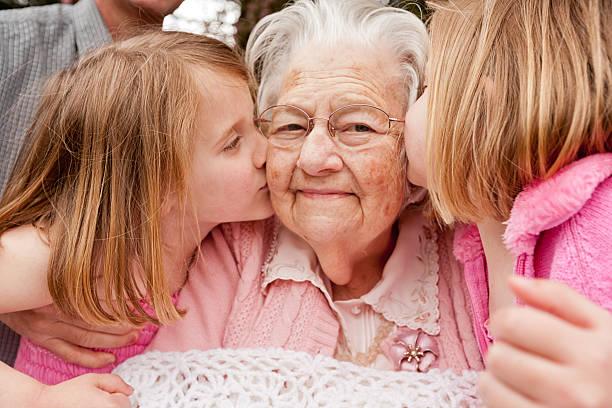 Kisses for Grandma stock photo