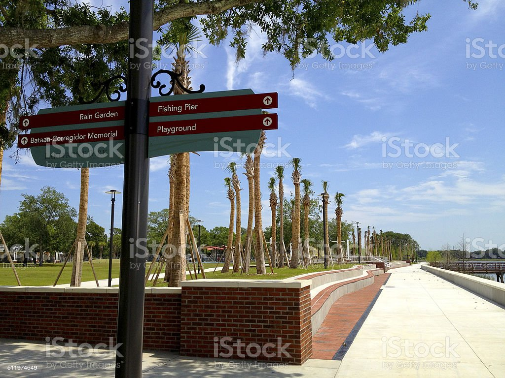 Kissimmee Lakefront Park - Signage and Walkway stock photo