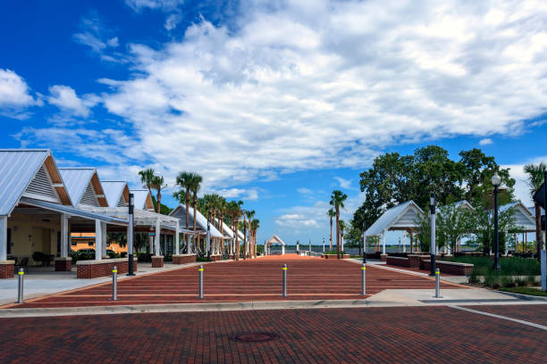 kissimmee lakefront park's brick promenade and pavilions - kissimmee stock photos and pictures