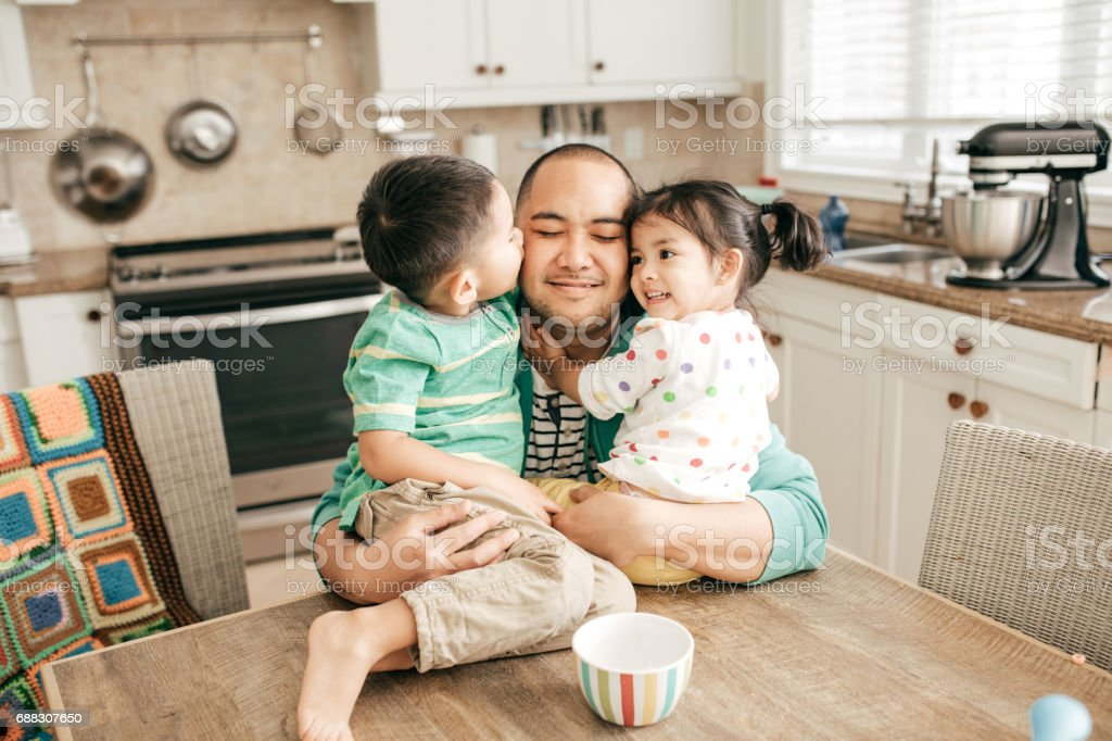 Kissing a best dad stock photo