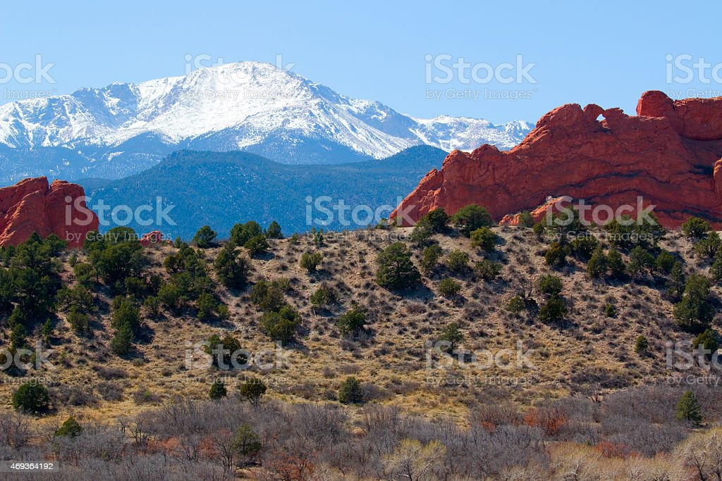 Kissing Camels and Pikes Peak stock photo
