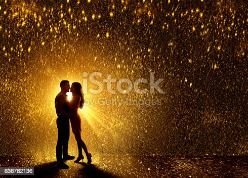 istock Kissing Couples Silhouette, Couple Falling in Love, Valentine Day Kiss 636782136