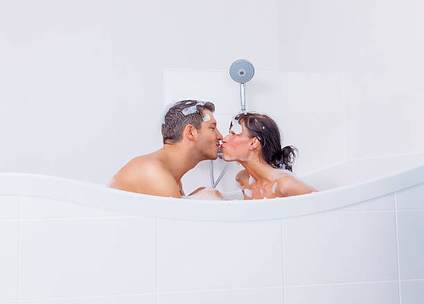 kissing home stock photo