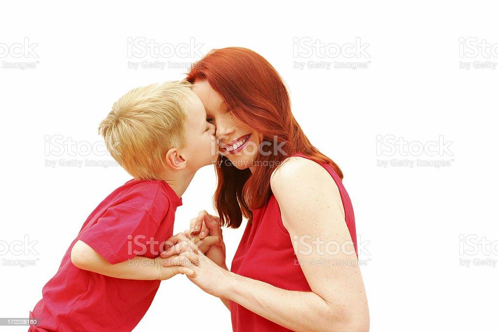 Kissing Mum royalty-free stock photo