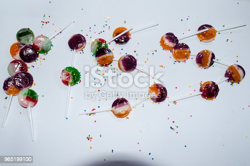 Kissing Sign With Sweet Lollipops Stock Photo & More Pictures of Bright