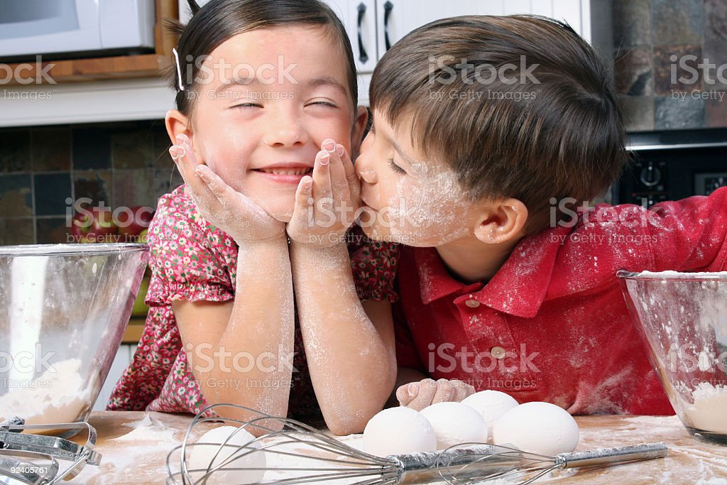 Kissing the cook royalty-free stock photo