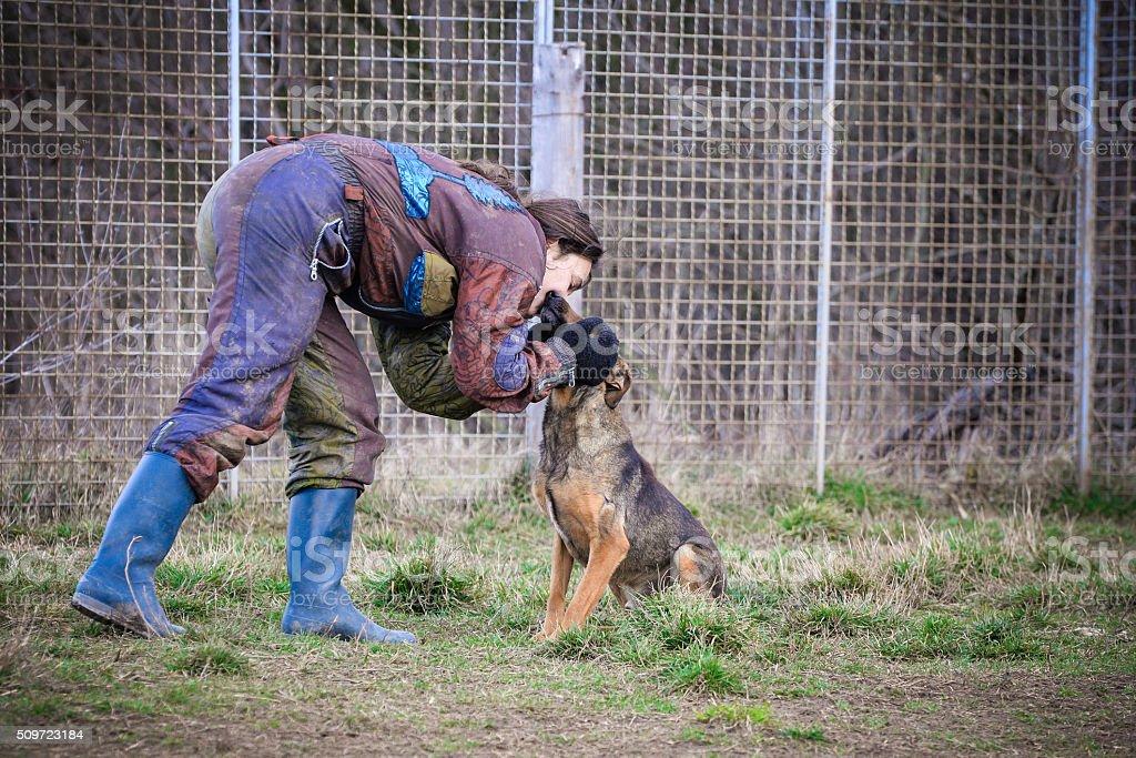 Kissing the dog stock photo
