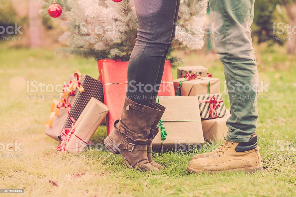 kissing under the christmas tree stock photo