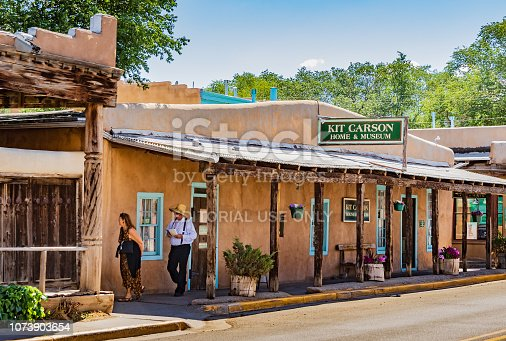 Taos, NM, USA-07/08/18: The actual Taos home of Kit Carson, turned into a museum.