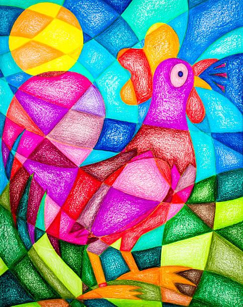 kit drawing rooster - naive malerei stock-fotos und bilder