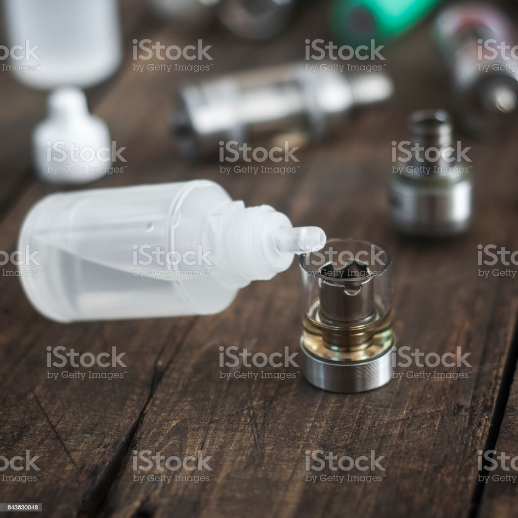 Kit for healthy smoking on wooden background stock photo