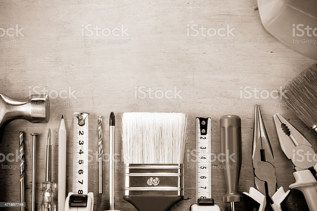 kit of construction tools on wood royalty-free stock photo