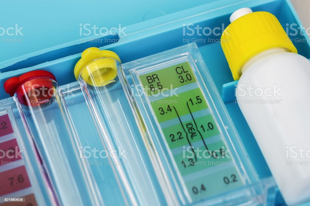 Kit of Ph chlorine and bromide test. Close-up on the test zone for chlorine and bromide stock photo
