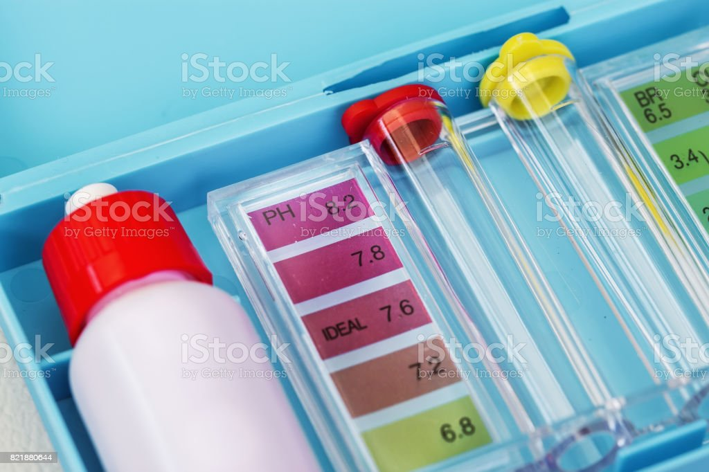 Kit of Ph chlorine and bromide test. Close-up on the test zone for pH stock photo
