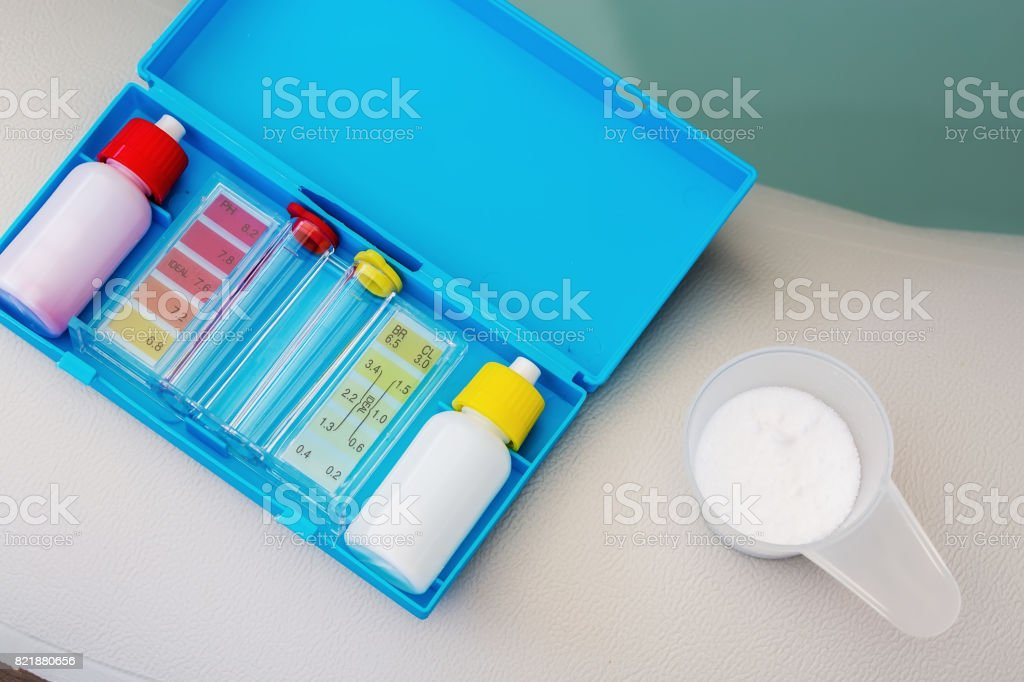 Kit of Ph chlorine and bromide test for water quality test of jacuzzi or pool stock photo